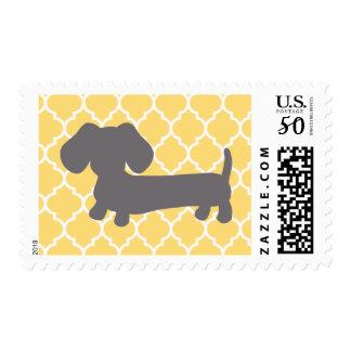 Yellow Lattice + Gray Dachshund Postage