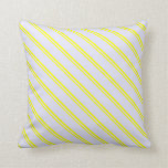 [ Thumbnail: Yellow & Lavender Colored Striped Pattern Pillow ]