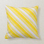 [ Thumbnail: Yellow & Lavender Colored Stripes Pattern Pillow ]