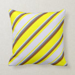 [ Thumbnail: Yellow, Lavender, Slate Gray & Brown Colored Throw Pillow ]