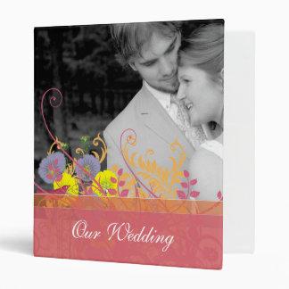 Yellow & Lavender Vintage Bird Wild Flower Wedding Vinyl Binder