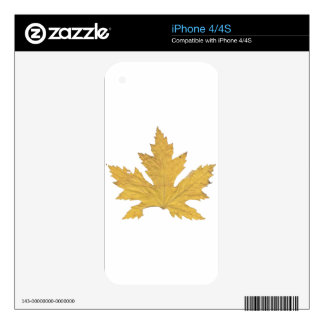 Yellow Leaf Decal For The iPhone 4