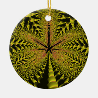 Yellow Leaf Silhouette Fractal Ceramic Ornament