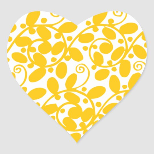 Yellow Leafy Heart Sticker