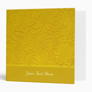 Yellow Leather -Embossed Floral Design Binder