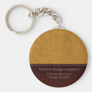Yellow leather look keychain