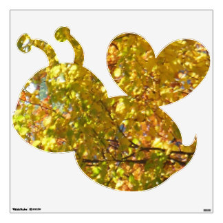 Yellow Leaves Bubble Bee Wall Decal