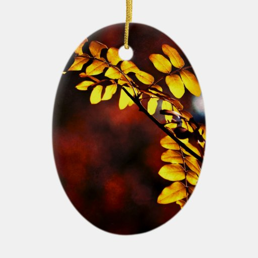 Yellow leaves ceramic ornament