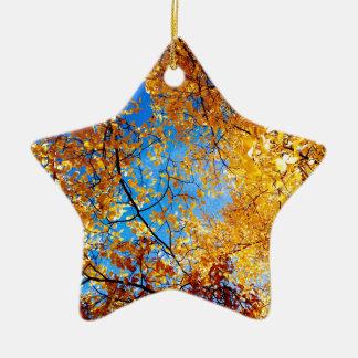 Yellow Leaves Ceramic Ornament