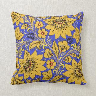 Yellow Leaves Khokhloma Throw Pillow