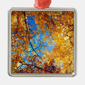 Yellow Leaves Metal Ornament