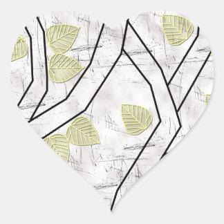 yellow leaves heart sticker
