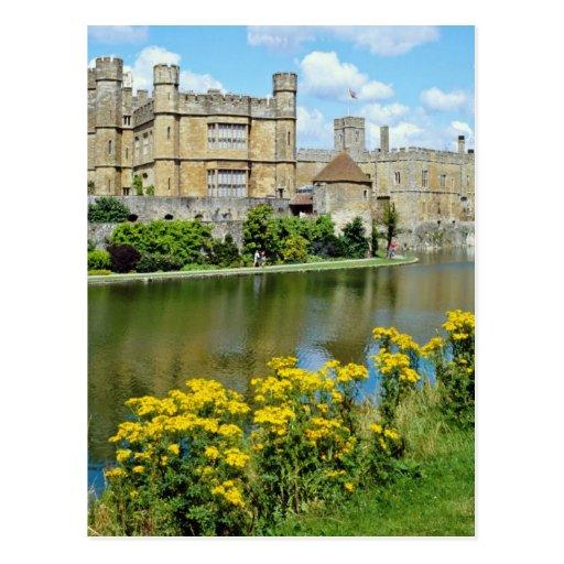 yellow Leeds Castle, Kent, England flowers Postcard