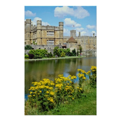 yellow Leeds Castle, Kent, England flowers Poster