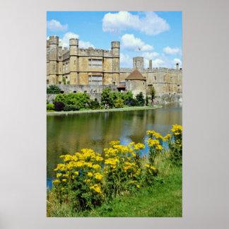 yellow Leeds Castle, Kent, England flowers Posters