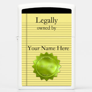 Yellow Legal Pad and Legal Seal Proves Ownership Zippo Lighter