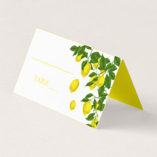 Yellow Lemon And Green Leaves Citrus Wedding Party Place Card