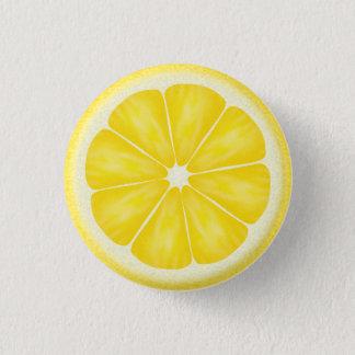 Yellow Lemon Citrus Fruit Slice Button
