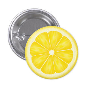 Yellow Lemon Citrus Fruit Slice Button