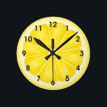 "Yellow Lemon Citrus Fruit Slice Round Clock<br><div class=""desc"">An artwork illustration of green lime fruit slice.  Artwork by Delightful-Doodles.</div>"