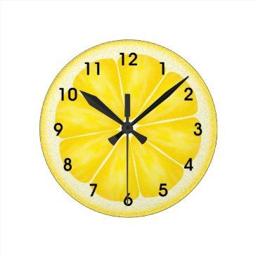 adams_apple Yellow Lemon Citrus Fruit Slice Round Clock