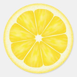 Yellow Lemon Citrus Fruit Round Sticker