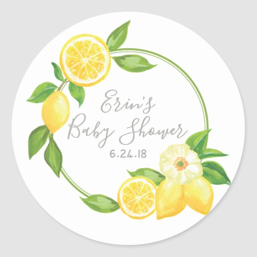 Yellow Lemon Floral Thank You Favor Tag Sticker
