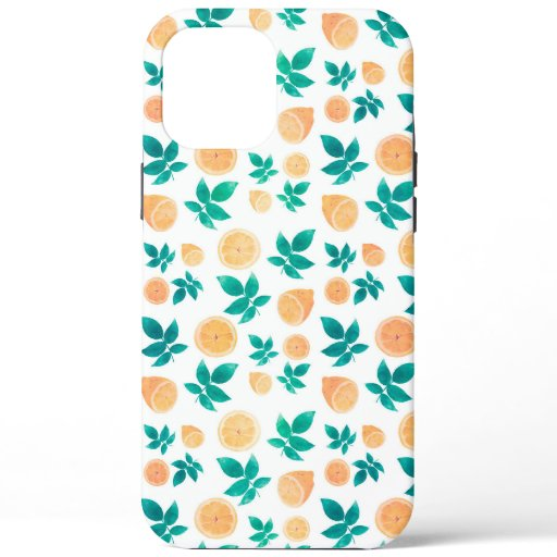 Yellow Lemon Fruit Leaves White Pattern iPhone 12 Pro Max Case