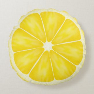 Yellow Lemon Fruit Slice Round Pillow