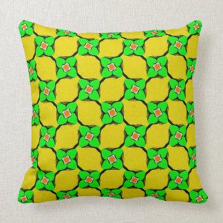 Yellow Lemon Garden Pattern Pillow