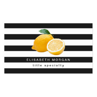 Yellow Lemon Logo with Classic Black White Stripes Double-Sided Standard Business Cards (Pack Of 100)
