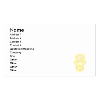 Yellow Lemon Outline Hamsa-Hand of Miriam-Hand of Double-Sided Standard Business Cards (Pack Of 100)