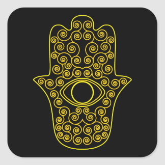 Yellow Lemon Outline Hamsa-Hand of Miriam-Hand of Square Stickers