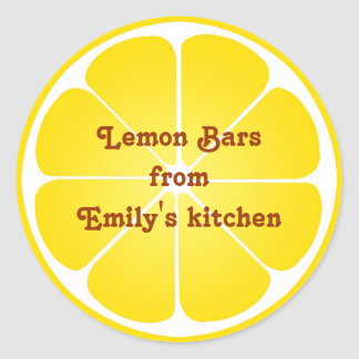 Yellow lemon party favor label seal jar top round