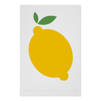 Yellow Lemon Retro Poster 60's 70's Quote