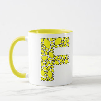 Yellow lemon shapes, monogram F Mug