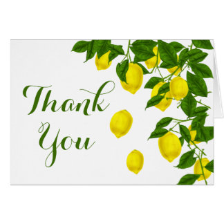Yellow Lemon Thank You Green Citrus Wedding Card