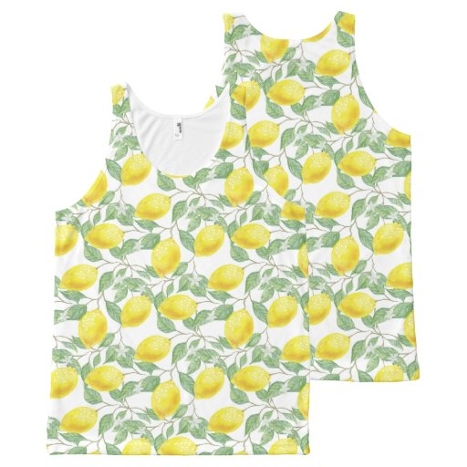 Yellow Lemons Fruit Watercolor Pattern All-Over-Print Tank Top