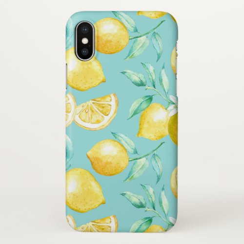 Yellow Lemons on Light Blue / Aqua Phone Case