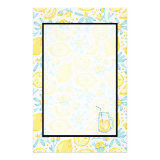 Yellow Lemons & Pastel Blue Flowers & Lemonade Jar Stationery