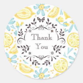 Yellow Lemons & Pastel Blue Flowers Thank You Classic Round Sticker