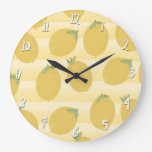 Yellow Lemons Summer Fruit Watercolor Fun Bright Large Clock
