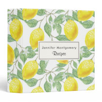 Yellow Lemons with Green Leaves Pattern 3 Ring Binder