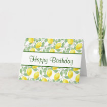 Yellow Lemons with Green Leaves Pattern Birthday Card