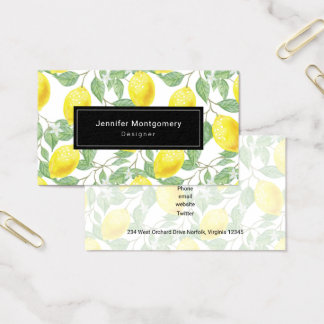 Yellow Lemons with Green Leaves Pattern Business Card