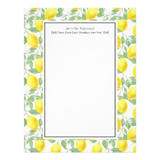 Yellow Lemons with Green Leaves Pattern Letterhead