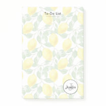 Yellow Lemons with Green Leaves Pattern Monogram Post-it Notes