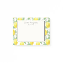Yellow Lemons with Green Leaves Pattern Post-it Notes