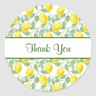 Yellow Lemons with Green Leaves Pattern Thank You Classic Round Sticker