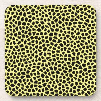 Yellow Leopard print Beverage Coasters